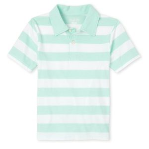 NWT PLACE Boys Sea Green Striped Polo Shirt M(7-8)